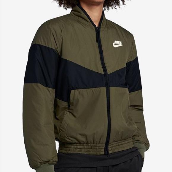 fd2cac216c79 Nike Olive Green Black Bomber Jacket